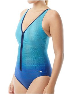 TYR Badeanzug damen aquafitness Fishnet zip
